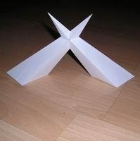 Paper model compound of two asymmetric pyramid version 2