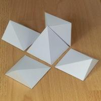 five square pyramids that form a cube