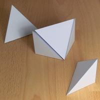 five triangular pyramids that form a cube