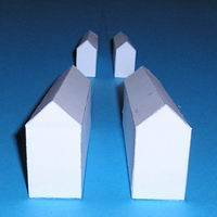 Paper model houses with vanishing point