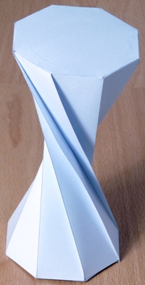 The completed model 180 twisted octagonal prism