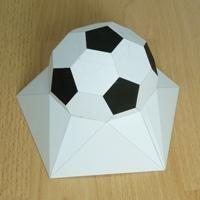 Paper model pentagonal based elevated half truncated icosahedron
