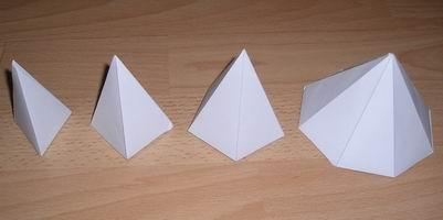 triangular pyramid, square pyramid (high), pentagonal pyramid, octagonal pyramid